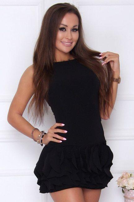 Sukienka wizytowa z falbankami czarna