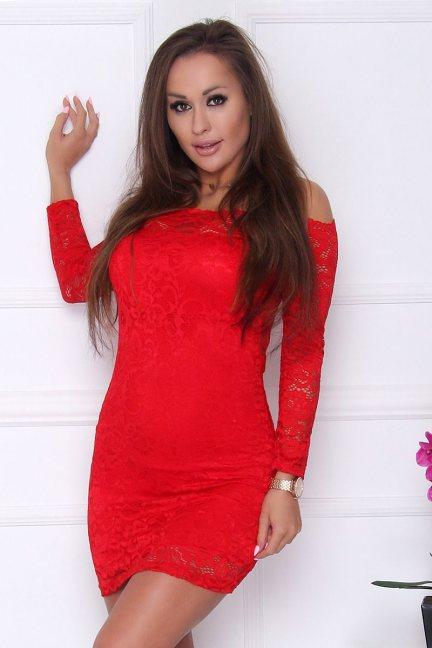 Sukienka koronkowa mini czerwona