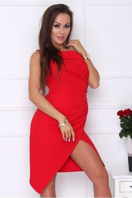 Sukienka modna na jedno ramię czerwona