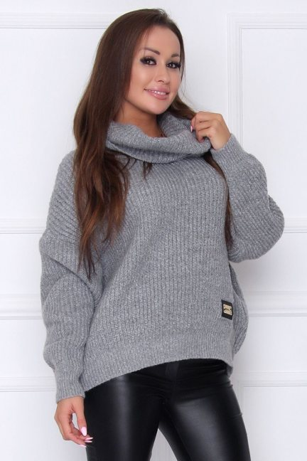 Sweter damski oversize z golfem szary