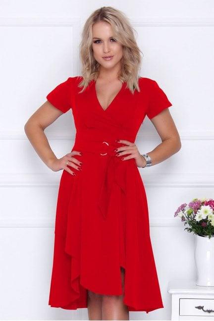 Sukienka asymetryczna z dekoltem czerwona