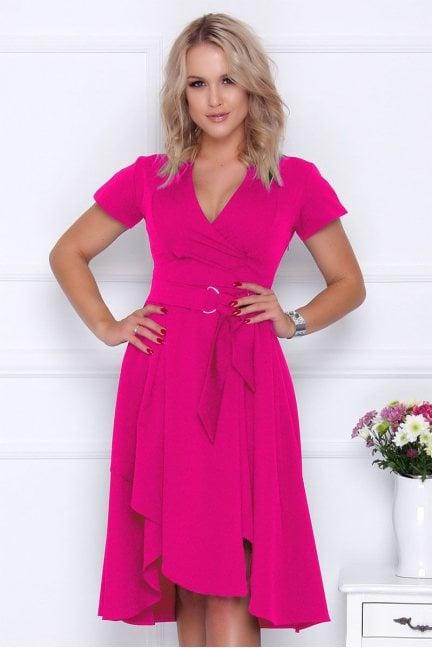 Sukienka asymetryczna z dekoltem fuksja