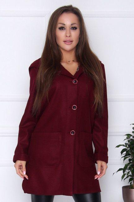 Płaszcz damski długi z kapturem bordowy