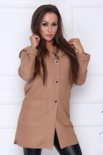 Płaszcz damski długi z kapturem camel