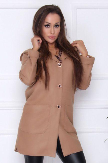 Płaszcz modny z kieszeniami camel