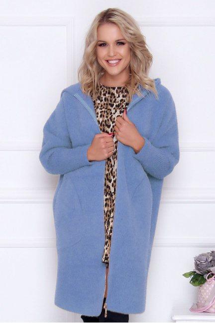 Płaszcz ciepły alpaka z kapturem niebieski