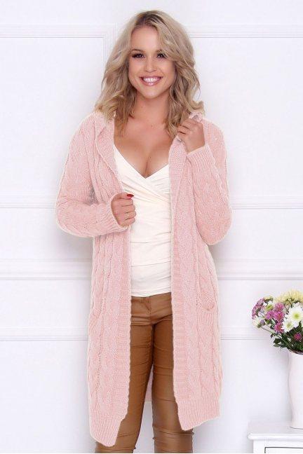Kardigan ciepły sweter kaptur różowy