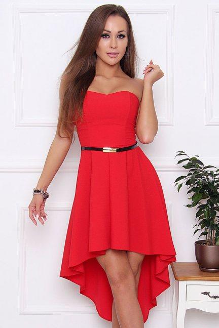 Sukienka elegancka z paskiem czerwona