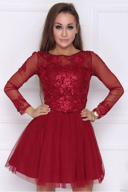 Sukienka tiulowa mini z koronką bordowa