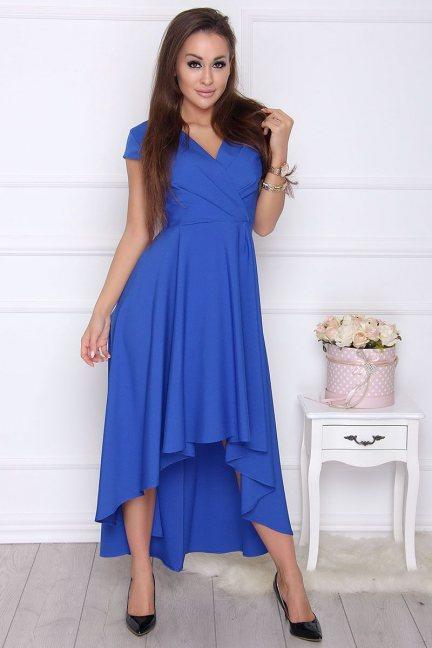 Sukienka damska asymetryczna chabrowa