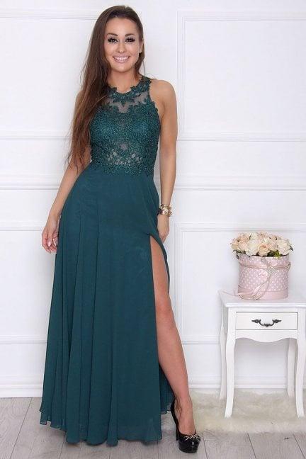 Sukienka elegancka maxi z koronką zielona