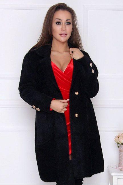 Płaszcz elegancki alpaka guziki czarny