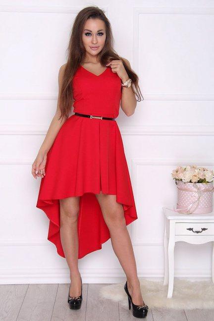 Sukienka modna dłuższy tył czerwona
