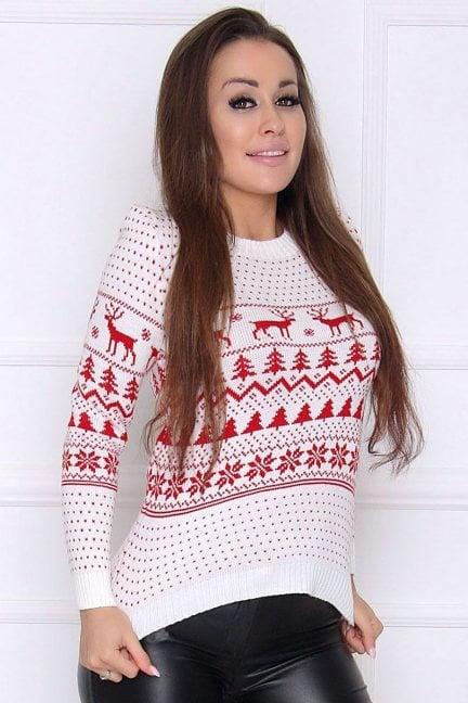 Sweter damski świąteczny w renifery ecru
