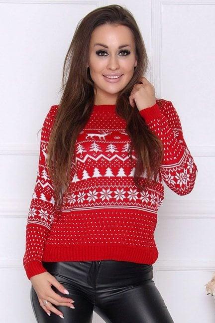Sweter damski świąteczny w renifery czerwony