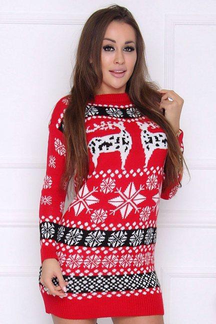 Sweter ciepły świąteczny tunika czerwony