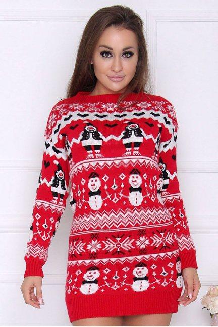 Sweter damski bluza w bałwanki czerwony