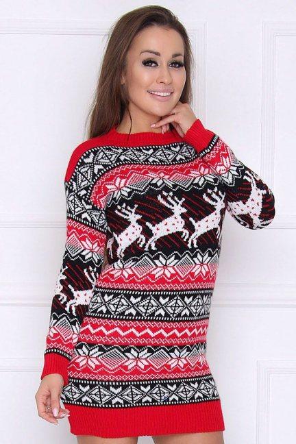 Sweter świąteczny w gwiazdki czerwony