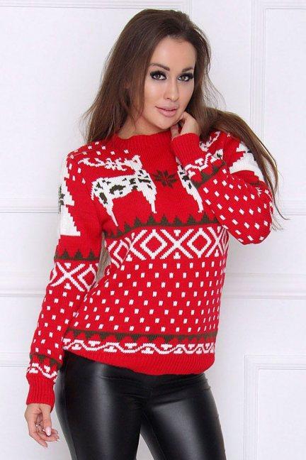 Sweter ciepły świąteczny wzór czerwony