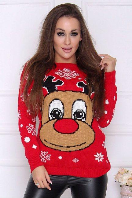 Sweter damski ciepły z Rudolfem czerwony