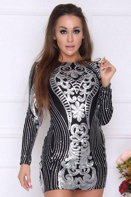 Sukienka ołówkowa mini cekiny czarna