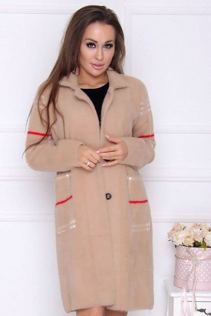 Płaszcz modny długi z alpaki beżowy