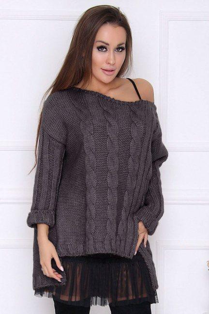 Sweter damski dłuższy tył warkocz grafit