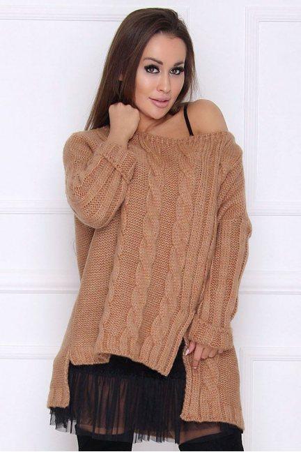 Sweter damski dłuższy tył warkocz brązowy