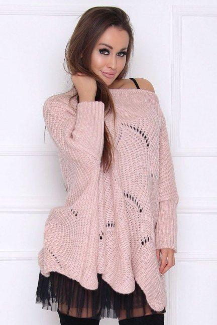 Sweter wełniany z dziurami różowy