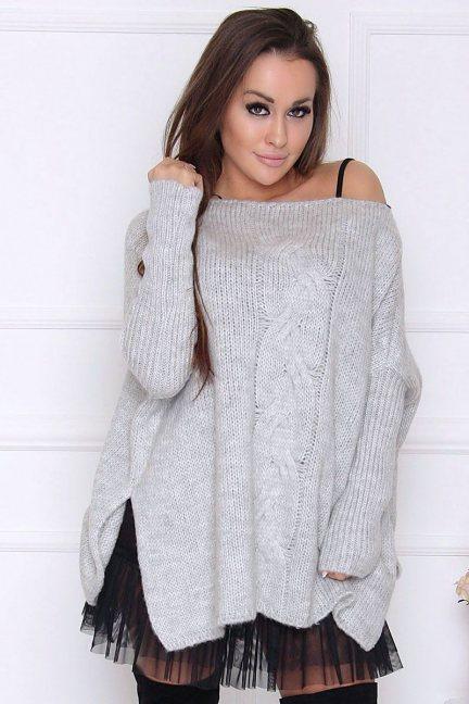 Sweter ciepły ozdobny warkocz szary