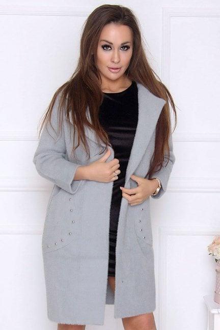 Płaszcz damski z alpaki z ćwiekami szary