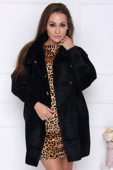 Płaszcz wiosenny alpaka zapinany czarny