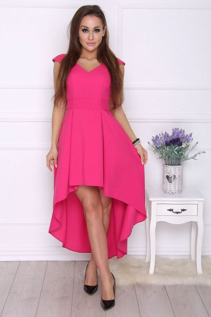 Sukienka modna asymetryczna fuksja