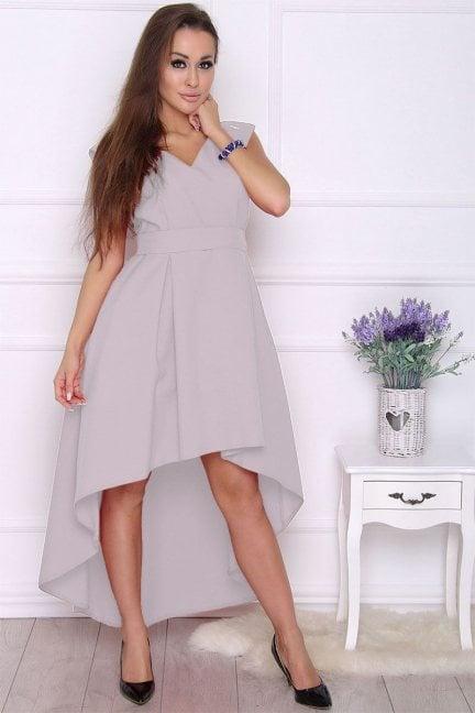 Sukienka modna asymetryczna szara