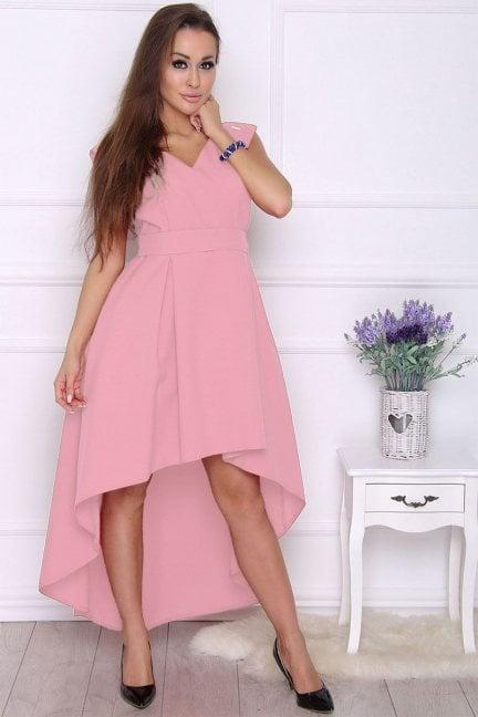 Sukienka modna asymetryczna różowa