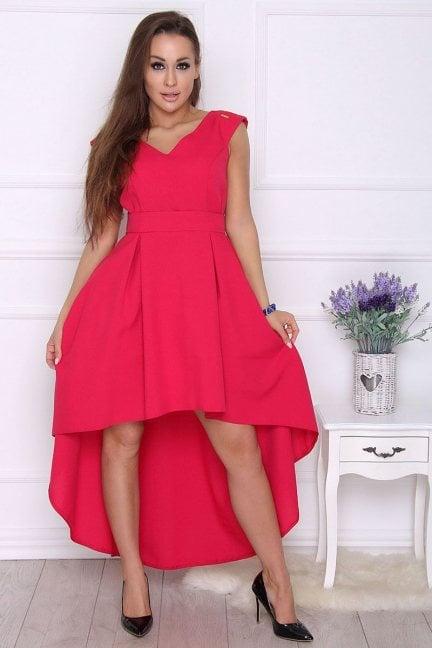 Sukienka modna asymetryczna koralowa