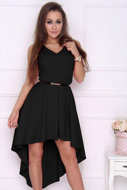 Sukienka modna dłuższy tył czarna