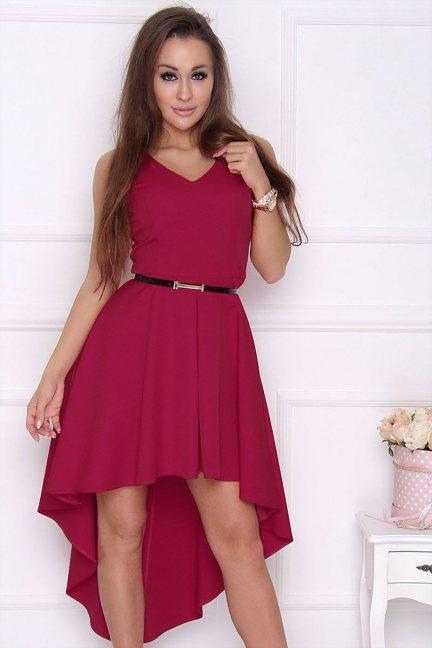 Sukienka modna dłuższy tył bordowa