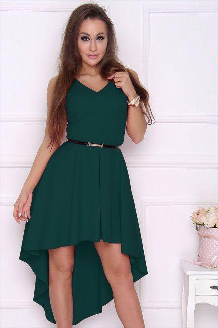 Sukienka modna dłuższy tył zielona