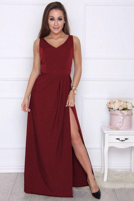 Sukienka maxi z rozporkiem bordowa