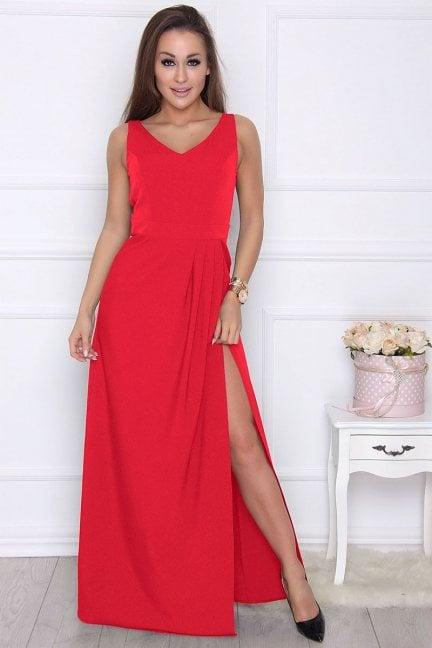 Sukienka maxi z rozporkiem czerwona