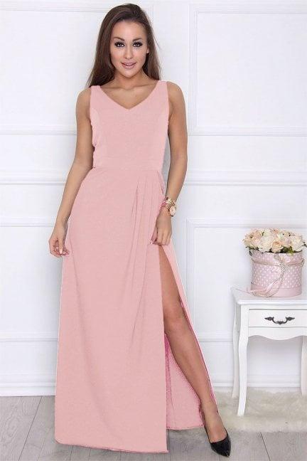 Sukienka maxi z rozporkiem różowa
