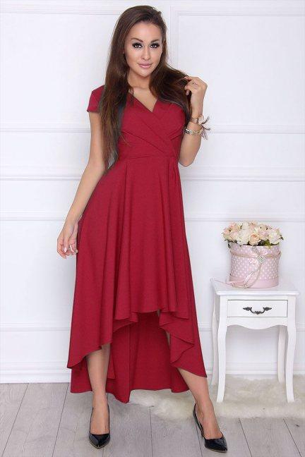 Sukienka modna asymetryczna bordowa