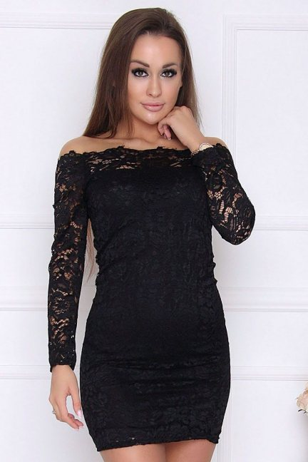 Sukienka koronkowa mini czarna