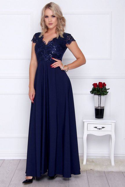 Sukienka elegancka maxi dekolt granat
