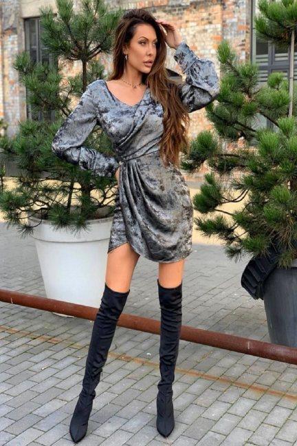Sukienka wizytowa mini z dekoltem szara