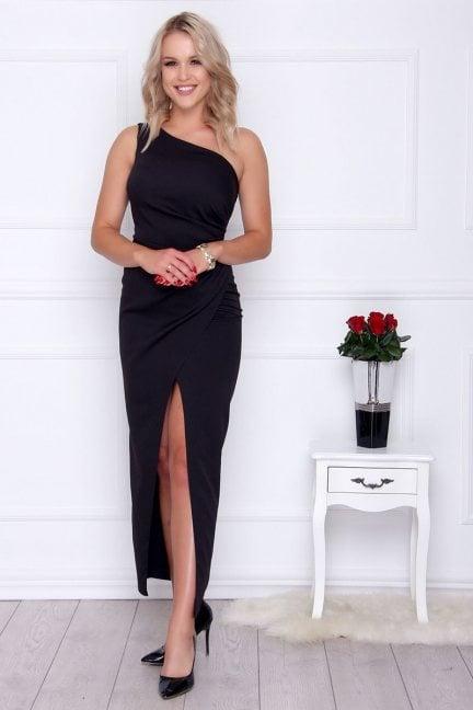 Sukienka elegancka maxi rozporek czarna