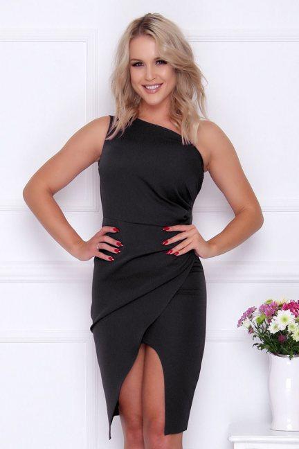 Sukienka modna na jedno ramię czarna
