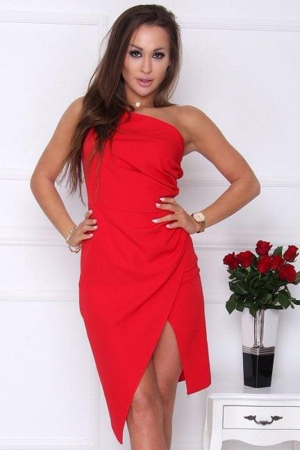 Sukienka damska wizytowa midi czerwona