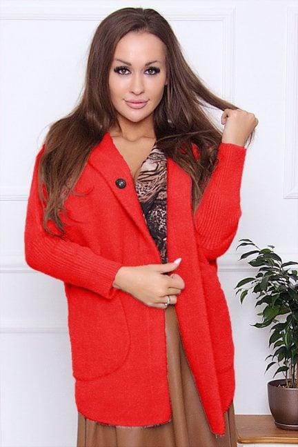 Płaszcz krótki alpaka z kapturem czerwony